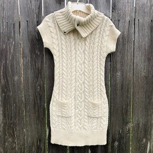 Ralph Lauren Ivory Cable Knit Sweater Dress Cowl